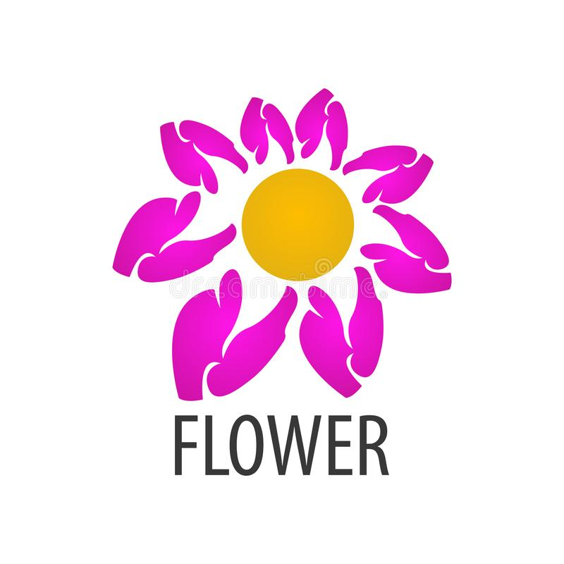 Ρόδινο σχέδιο έννοιας λογότυπων λουλουδιών Γραφικό στοιχείο προτύπων συμβόλων διανυσματική απεικόνιση