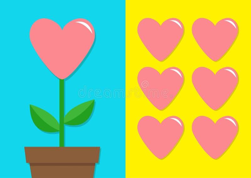 Ρόδινο σύνολο εικονιδίων καρδιών Δοχείο λουλουδιών Χαριτωμένη συλλογή εγκαταστάσεων έγγραφο αγάπης καρτών ανασκόπησης grunge να α απεικόνιση αποθεμάτων