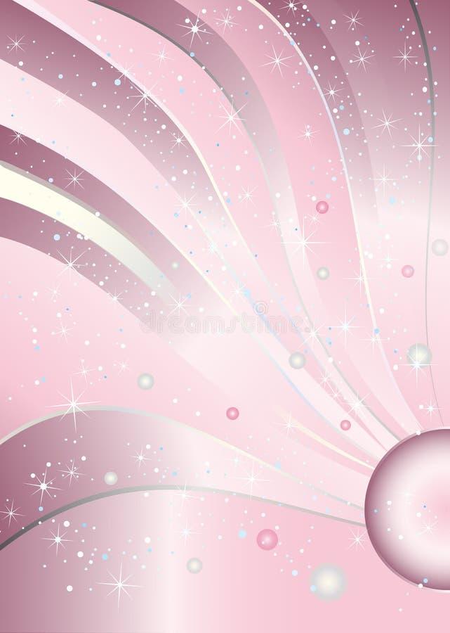 Ρόδινο υπόβαθρο γενεθλίων κοριτσάκι πριγκηπισσών πολυτέλειας διανυσματική απεικόνιση