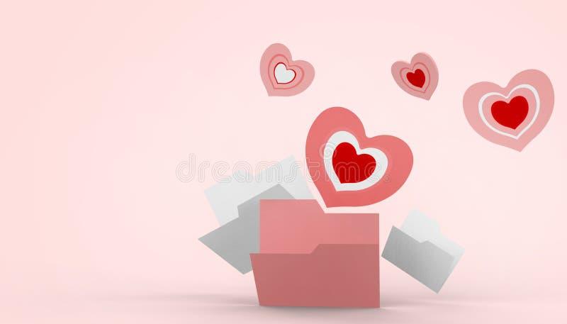 Ρόδινο υπόβαθρο ημέρας, αγάπης και καρδιών μορφής βαλεντίνων astel ελεύθερη απεικόνιση δικαιώματος