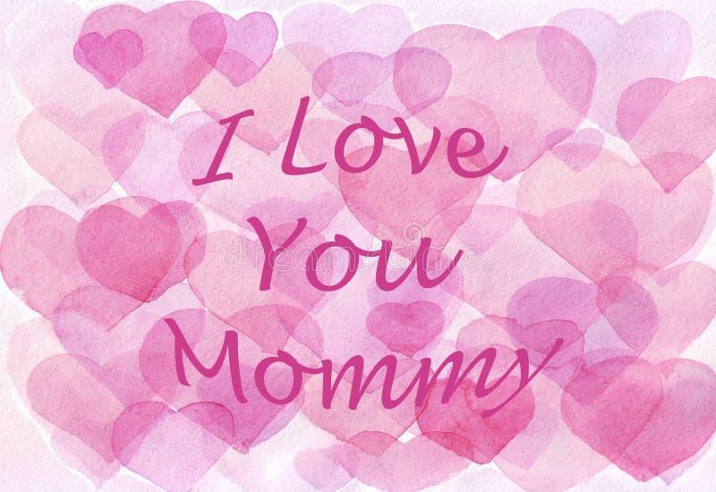 Ρόδινο υπόβαθρο καρδιών Watercolor αγάπη εσείς μαμά r διανυσματική απεικόνιση