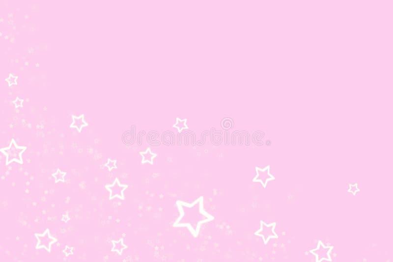 Ρόδινο υπόβαθρο με μια διασπορά των άσπρων αστεριών ελεύθερη απεικόνιση δικαιώματος