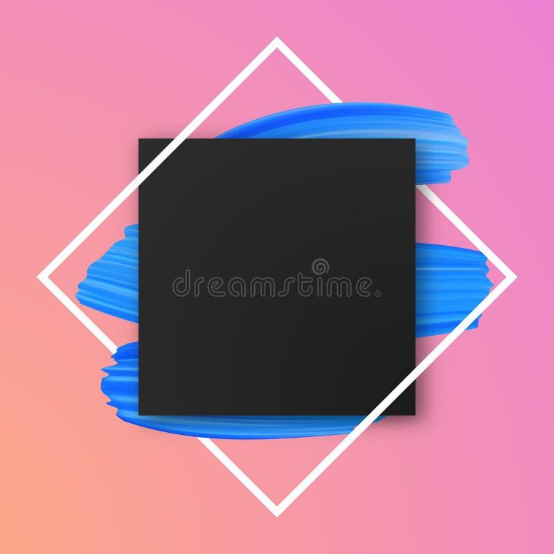 Ρόδινο υπόβαθρο με τα μπλε κτυπήματα βουρτσών χρωμάτων ελεύθερη απεικόνιση δικαιώματος
