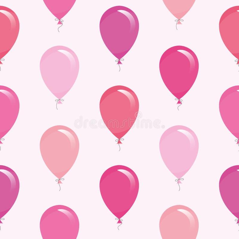 Ρόδινο υπόβαθρο σχεδίων μπαλονιών άνευ ραφής Για τα γενέθλια, σχέδιο ντους μωρών ελεύθερη απεικόνιση δικαιώματος