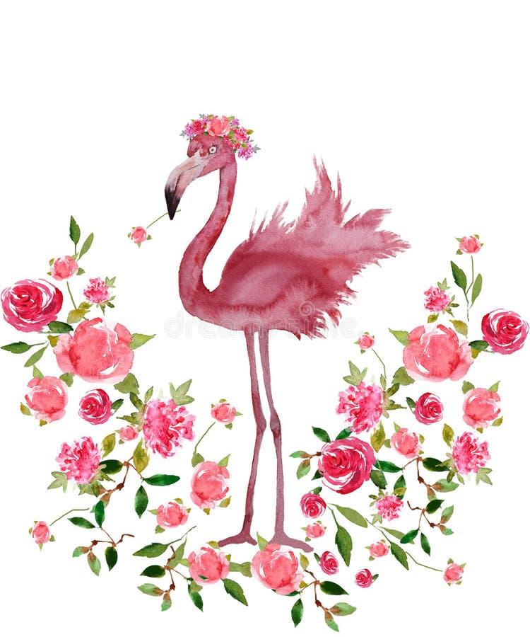 Ρόδινο φλαμίγκο και Floral στεφάνι συρμένο χέρι Watercolor που απομονώνεται διανυσματική απεικόνιση