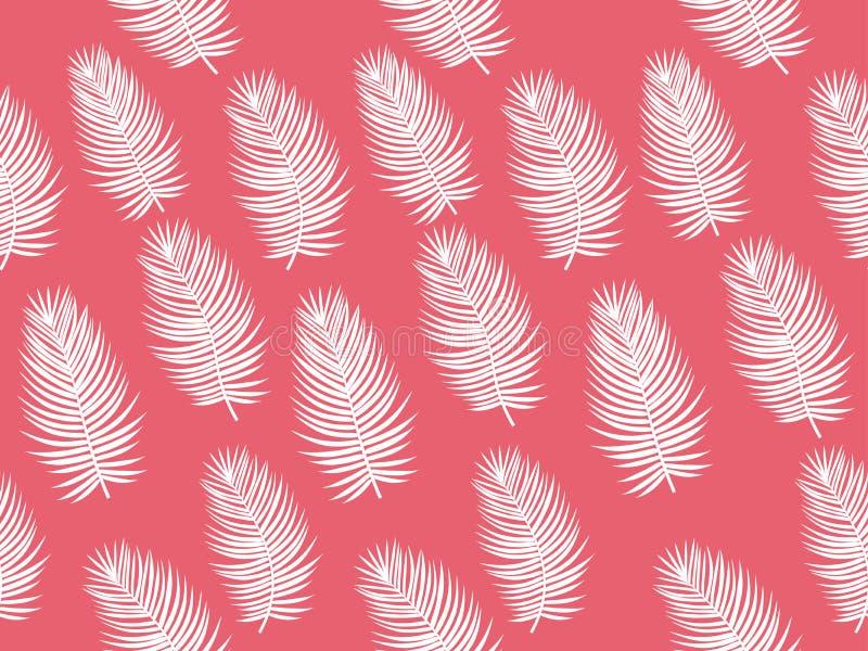 Ρόδινο φοινίκων άνευ ραφής σχέδιο θέματος φύλλων διανυσματικό τροπικό ελεύθερη απεικόνιση δικαιώματος