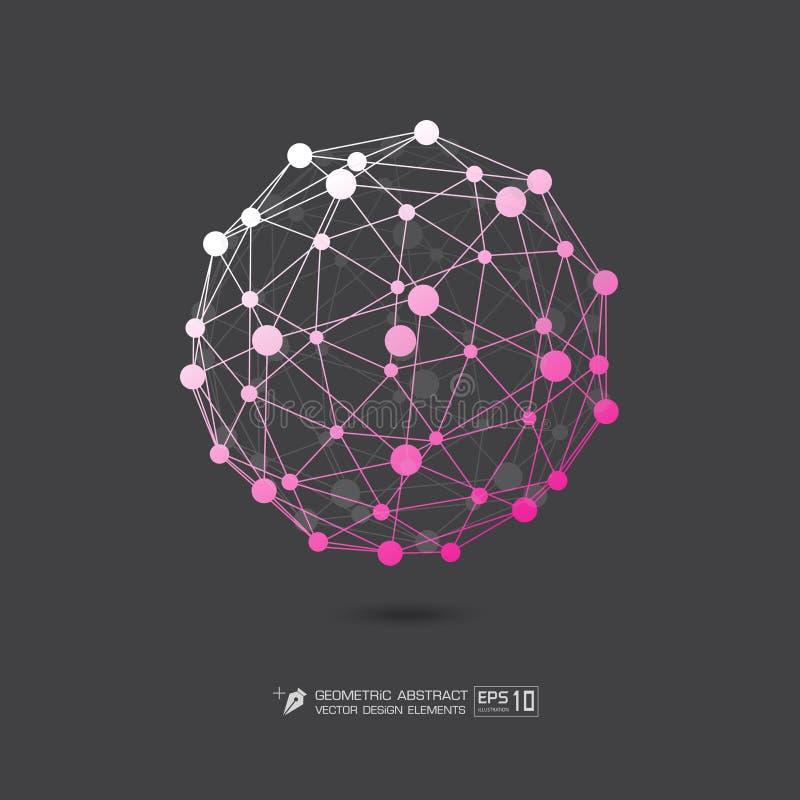 Ρόδινο χρώμα δομών μορίων στην γκρίζα απεικόνιση σχήματος υποβάθρου διανυσματική EPS10 ελεύθερη απεικόνιση δικαιώματος
