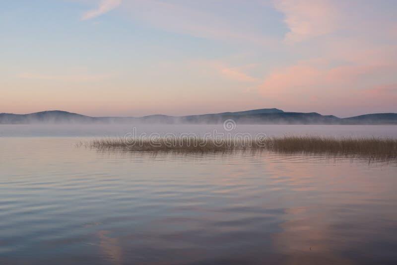 Ρόδινο όμορφο πρωί της Misty με τις αντανακλάσεις στη μεγάλη λίμνη στοκ εικόνα