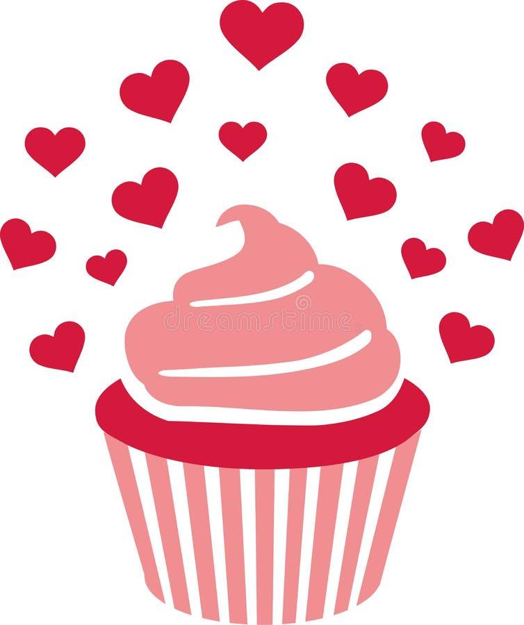 Ρόδινο Cupcake με τα μέρη της καρδιάς απεικόνιση αποθεμάτων