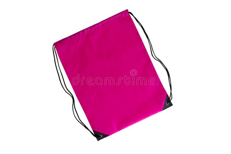 Ρόδινο drawstring πρότυπο πακέτων, πρότυπο της τσάντας για τα αθλητικά παπούτσια που απομονώνονται στο λευκό στοκ φωτογραφία με δικαίωμα ελεύθερης χρήσης