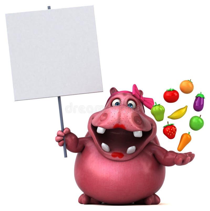 Ρόδινο Hippo - τρισδιάστατη απεικόνιση ελεύθερη απεικόνιση δικαιώματος