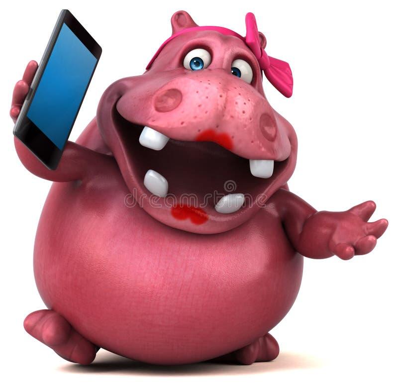 Ρόδινο Hippo - τρισδιάστατη απεικόνιση απεικόνιση αποθεμάτων