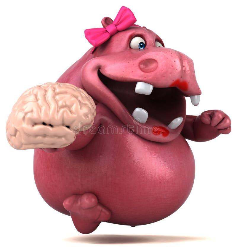 Ρόδινο Hippo - τρισδιάστατη απεικόνιση διανυσματική απεικόνιση