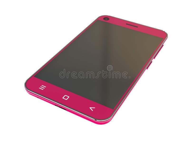Ρόδινο smartphone που απομονώνεται στο άσπρο υπόβαθρο Σύγχρονη οθόνη αφής τρισδιάστατο διανυσματική απεικόνιση