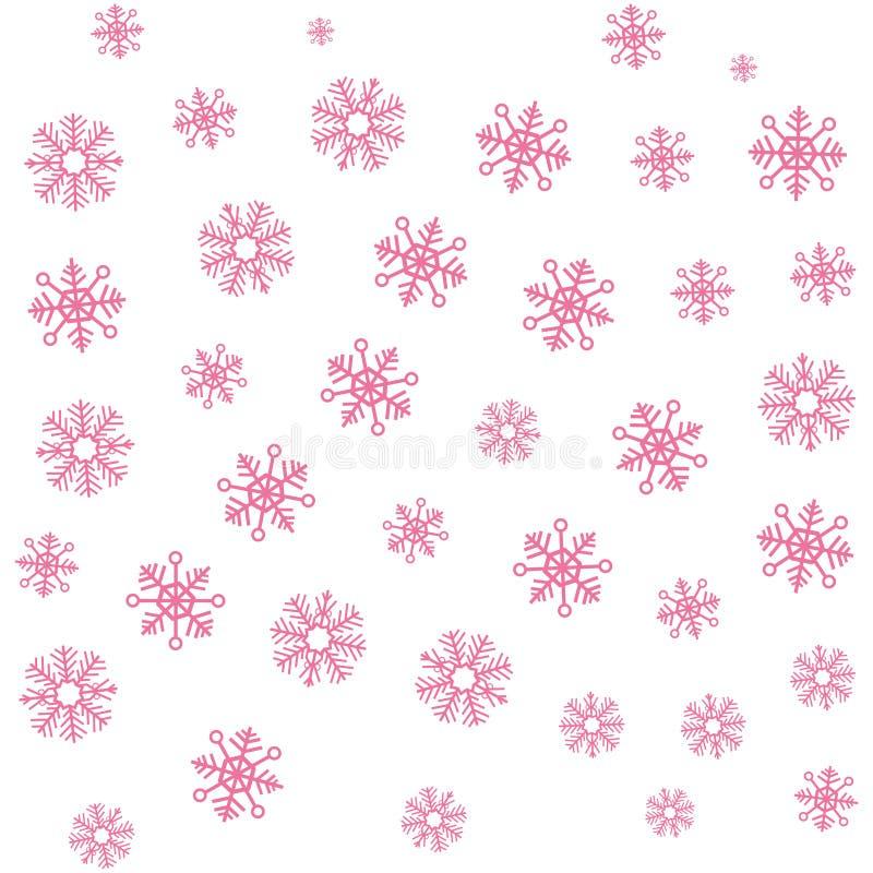 Ρόδινο snowflake Χριστουγέννων χειμερινό υπόβαθρο διανυσματική απεικόνιση