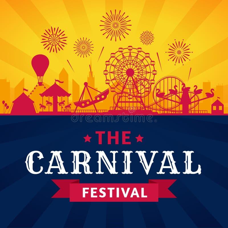 Αφίσα λούνα παρκ Ρόλερ κόστερ, ρόδα ferris και εορταστική σκιαγραφία έλξης πάρκων ιπποδρομίων καρναβαλιού διανυσματική διανυσματική απεικόνιση