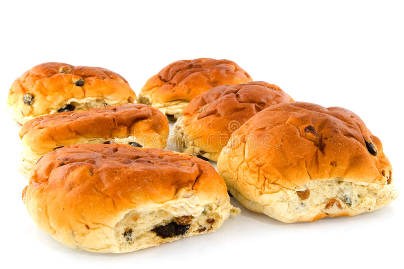 ρόλοι σταφίδων ψωμιού στοκ εικόνες