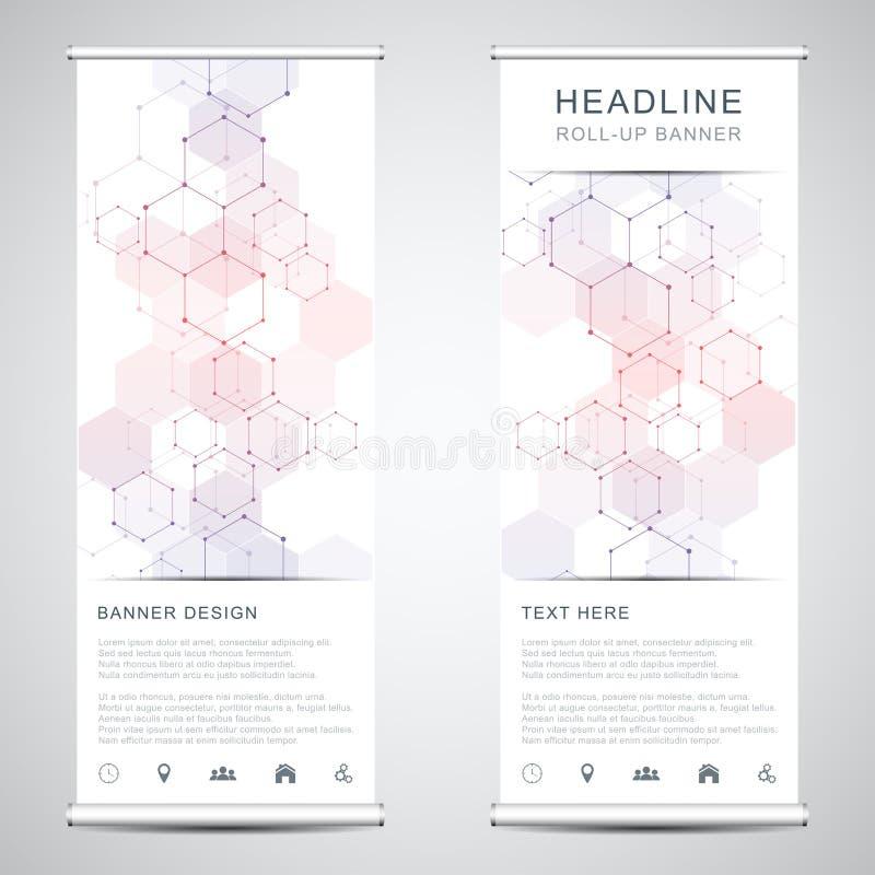 Ρόλος επάνω στις στάσεις εμβλημάτων με το αφηρημένο γεωμετρικό υπόβαθρο από hexagons το σχέδιο Ψηφιακό υπόβαθρο υψηλής τεχνολογία διανυσματική απεικόνιση