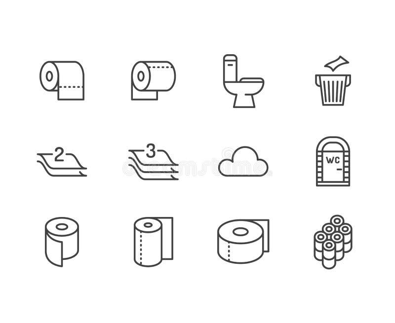 Ρόλος χαρτιού τουαλέτας, επίπεδα εικονίδια γραμμών πετσετών Απεικονίσεις υγιεινής, κινητό WC, χώρος ανάπαυσης, βαλμένη σε στρώσει απεικόνιση αποθεμάτων