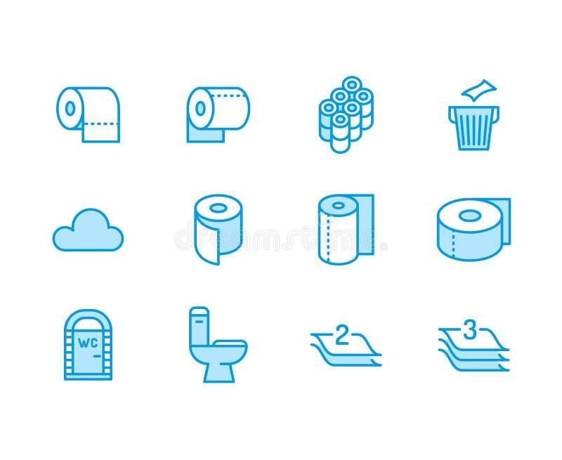 Ρόλος χαρτιού τουαλέτας, επίπεδα εικονίδια γραμμών πετσετών Απεικονίσεις υγιεινής, κινητό WC, χώρος ανάπαυσης, βαλμένη σε στρώσει διανυσματική απεικόνιση