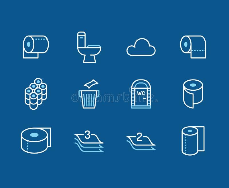 Ρόλος χαρτιού τουαλέτας, επίπεδα εικονίδια γραμμών πετσετών Απεικονίσεις υγιεινής, κινητό WC, χώρος ανάπαυσης, βαλμένη σε στρώσει ελεύθερη απεικόνιση δικαιώματος