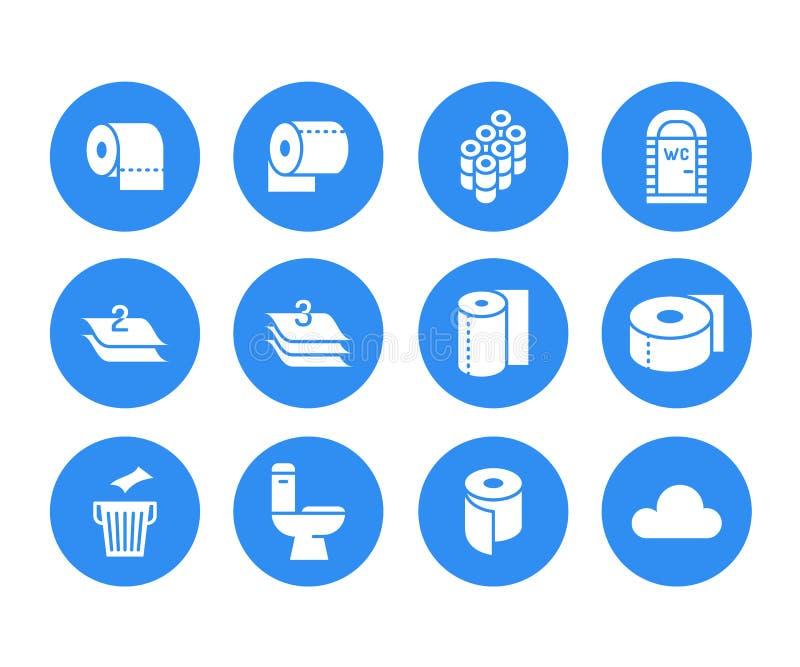 Ρόλος χαρτιού τουαλέτας, επίπεδα εικονίδια glyph πετσετών Απεικονίσεις υγιεινής, κινητό WC, χώρος ανάπαυσης, βαλμένη σε στρώσεις  απεικόνιση αποθεμάτων