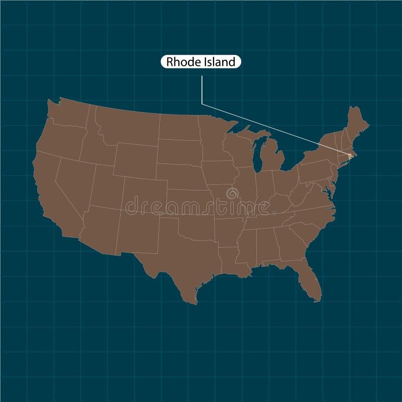 Ρόουντ Άιλαντ Κράτη του εδάφους της Αμερικής στο σκοτεινό υπόβαθρο Χωριστό κράτος επίσης corel σύρετε το διάνυσμα απεικόνισης ελεύθερη απεικόνιση δικαιώματος