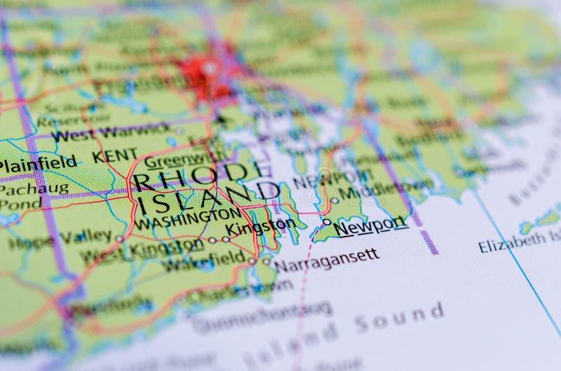 Ρόουντ Άιλαντ στο χάρτη στοκ εικόνες με δικαίωμα ελεύθερης χρήσης