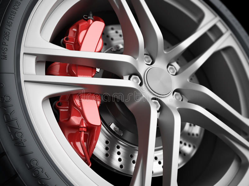 Ρόδα αυτοκινήτων και σύστημα φρένων closeup διανυσματική απεικόνιση