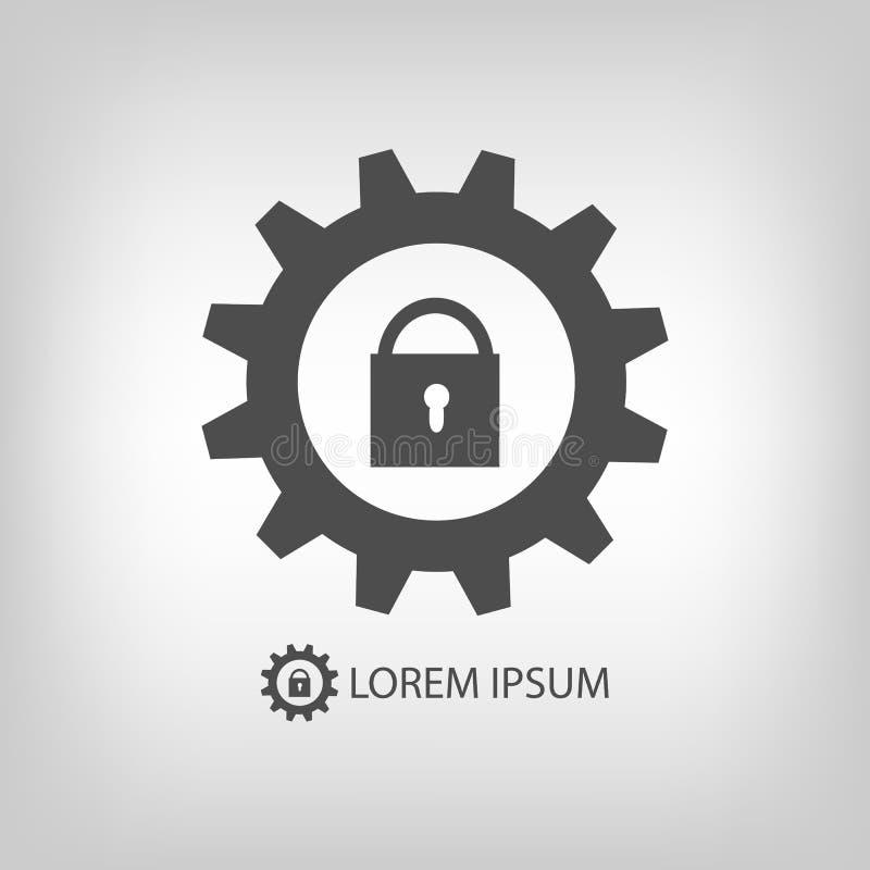 Ρόδα εργαλείων με την κλειδαριά ως λογότυπο απεικόνιση αποθεμάτων