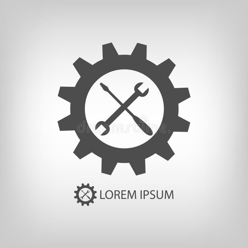 Ρόδα και εργαλεία εργαλείων ως λογότυπο διανυσματική απεικόνιση