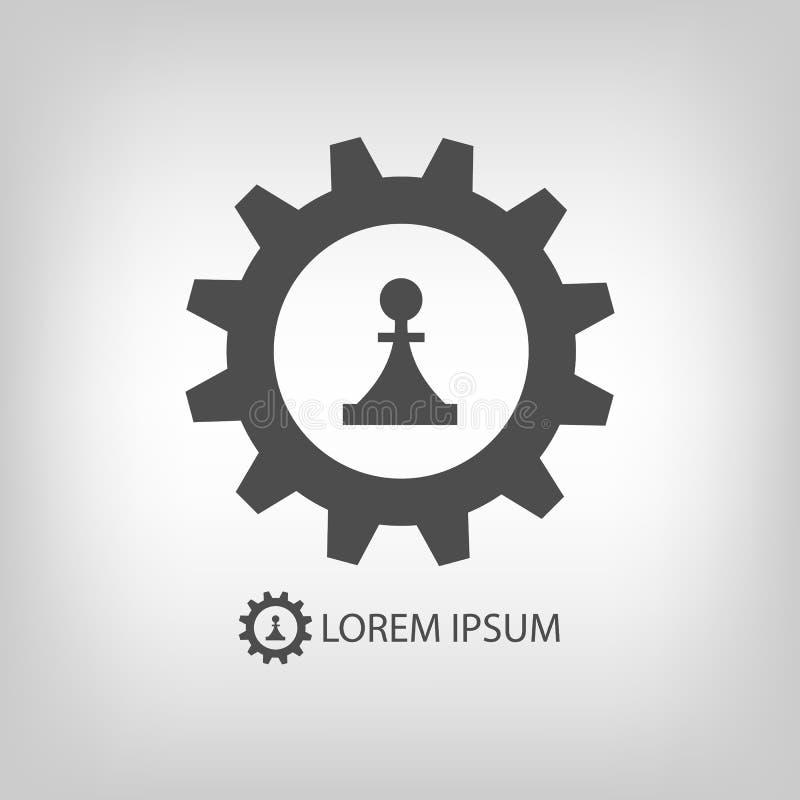 Ρόδα και κομμάτι εργαλείων ως λογότυπο διανυσματική απεικόνιση