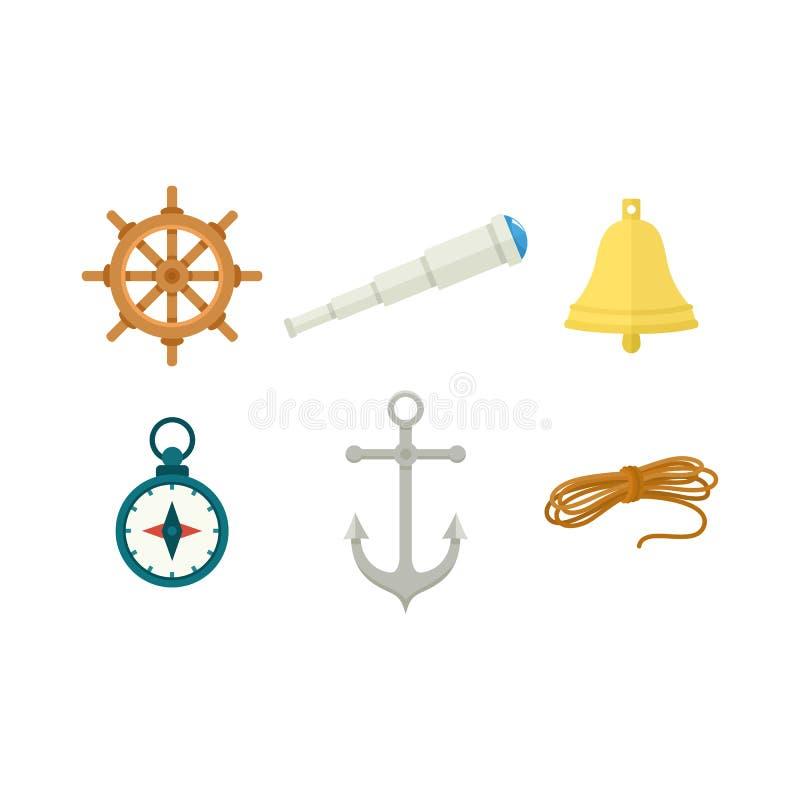 Ρόδα, κουδούνι σκαφών, πυξίδα, άγκυρα, τηλεσκόπιο, σχοινί απεικόνιση αποθεμάτων