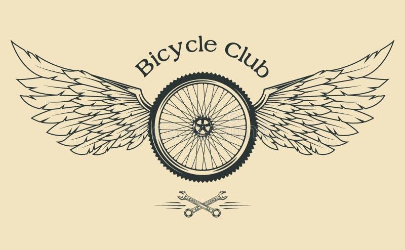 Ρόδα ποδηλάτων με τα φτερά διανυσματική απεικόνιση