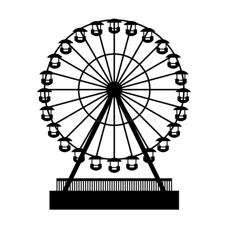 Ρόδα Atraktsion Ferris πάρκων σκιαγραφιών διάνυσμα διανυσματική απεικόνιση