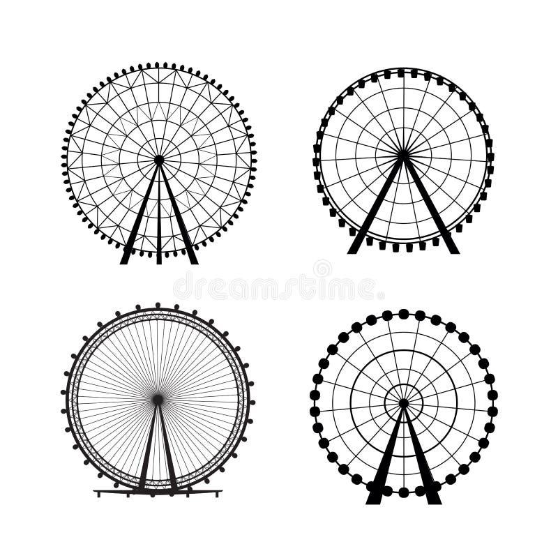 Ρόδα Ferris από το λούνα παρκ, διανυσματική σκιαγραφία διανυσματική απεικόνιση