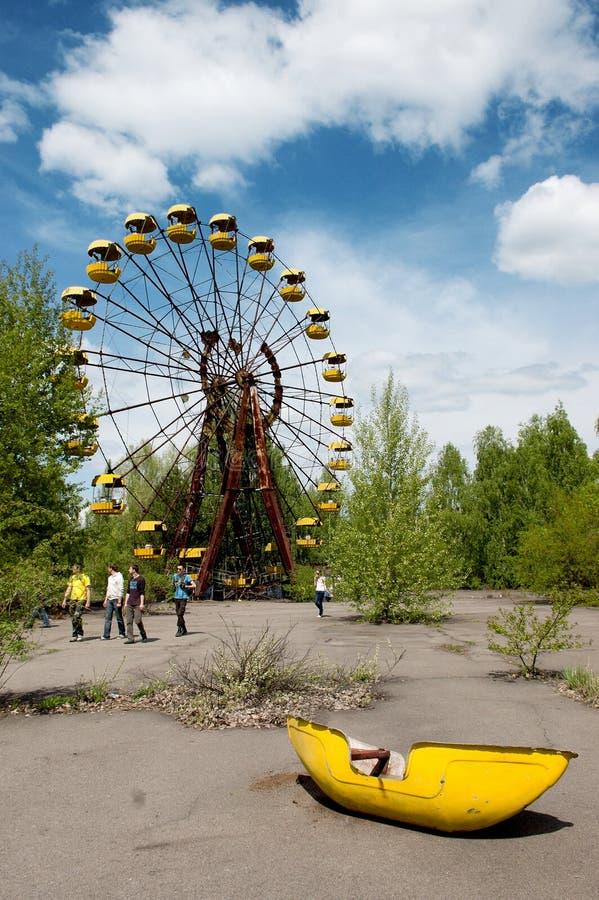 Ρόδα Ferris στο εγκαταλειμμένο λούνα παρκ στην πόλη Pripyat στοκ εικόνες με δικαίωμα ελεύθερης χρήσης