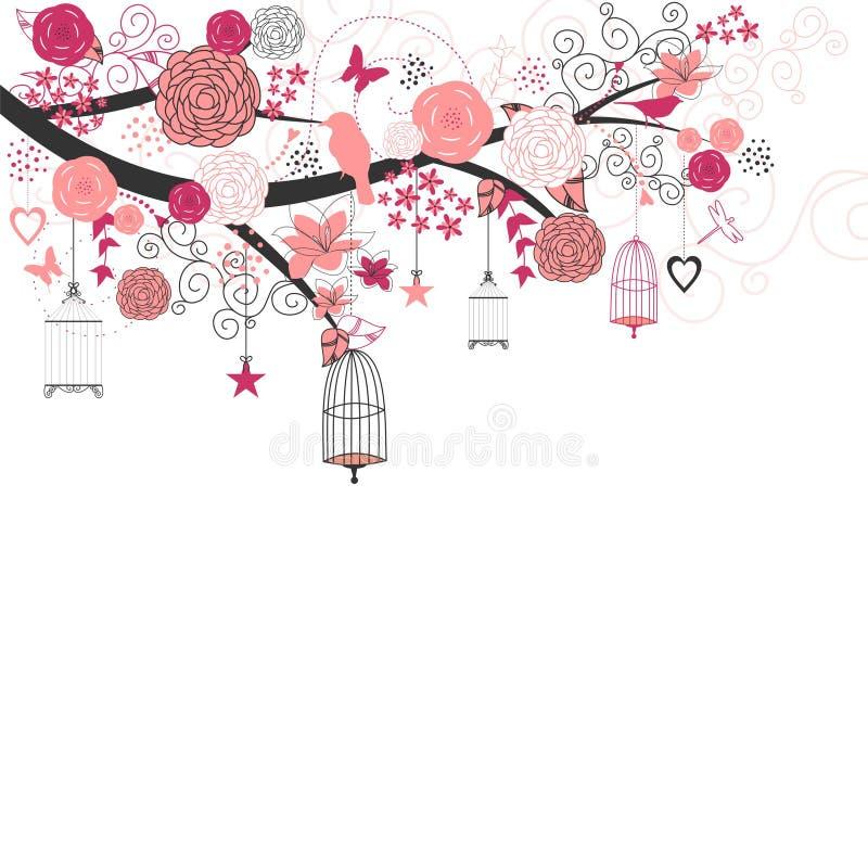 Ρόδινα γαμήλια λουλούδια και πουλιά ελεύθερη απεικόνιση δικαιώματος