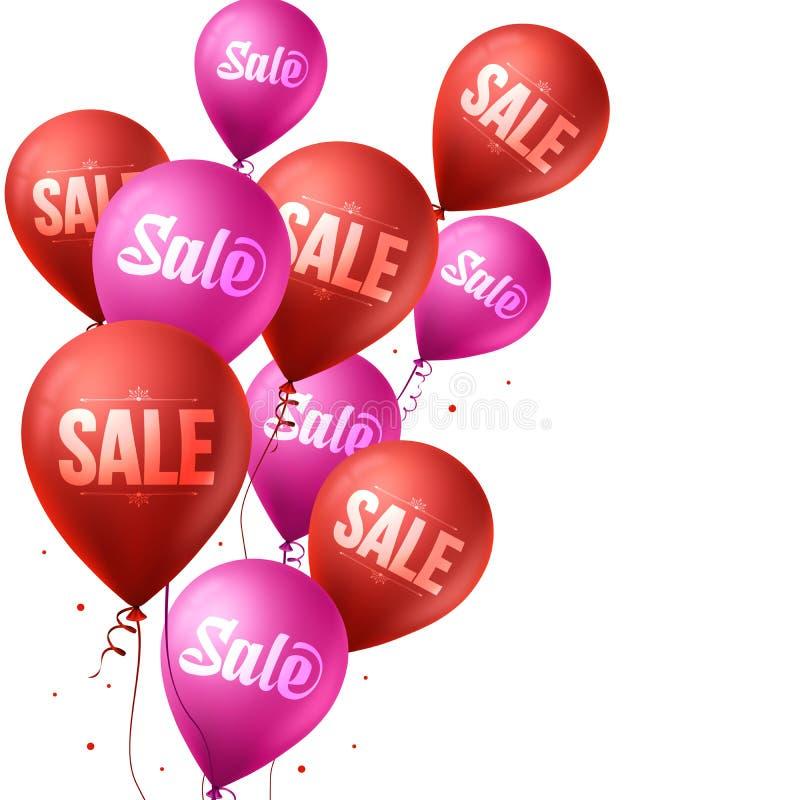 Ρόδινα και κόκκινα μπαλόνια πώλησης που πετούν για τα Χριστούγεννα και το χειμώνα απεικόνιση αποθεμάτων
