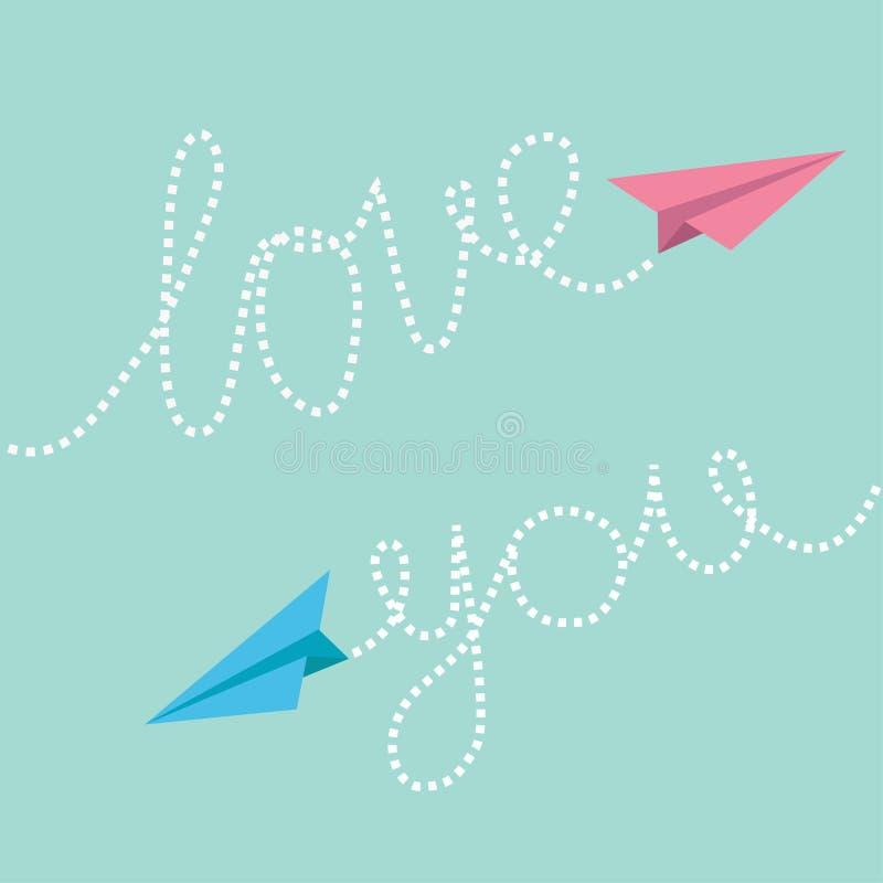 Ρόδινα και μπλε αεροπλάνα εγγράφου origami Αγάπη κειμένων γραμμών εξόρμησης εσείς στον ουρανό χαιρετισμός καλή χρονιά καρτών του  απεικόνιση αποθεμάτων