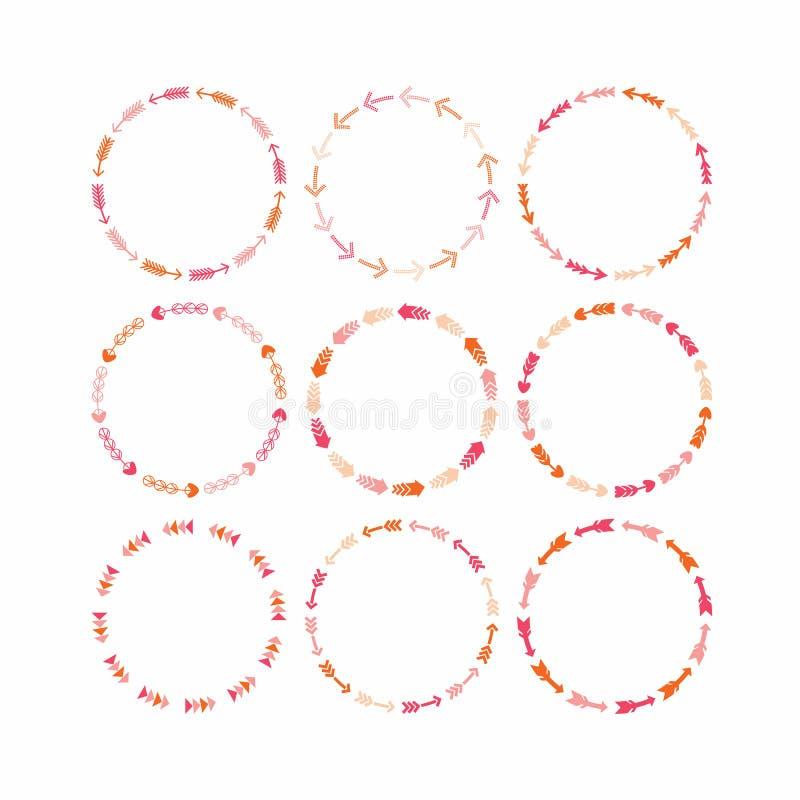 Ρόδινα και πορτοκαλιά στοιχεία σχεδίου κύκλων για το πλαίσιο και τα εμβλήματα - σύνολο 2 διανυσματική απεικόνιση
