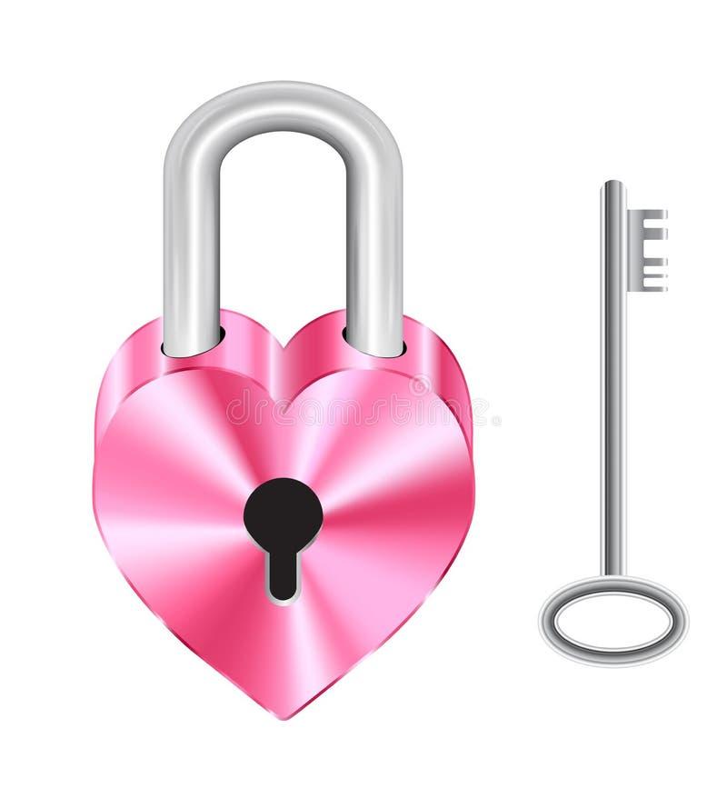 Ρόδινα κλειδαριά κύριων κλειδιών μορφής καρδιών χάλυβα και κλειδί χάλυβα απεικόνιση αποθεμάτων