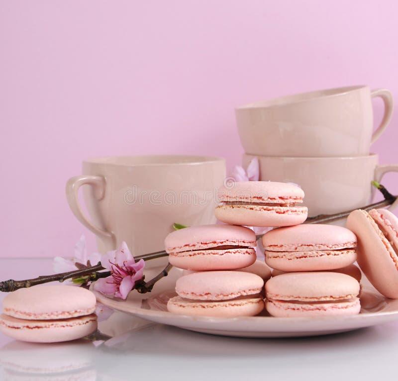Ρόδινα μπισκότα macaron με τα εκλεκτής ποιότητας φλυτζάνια στοκ εικόνα με δικαίωμα ελεύθερης χρήσης