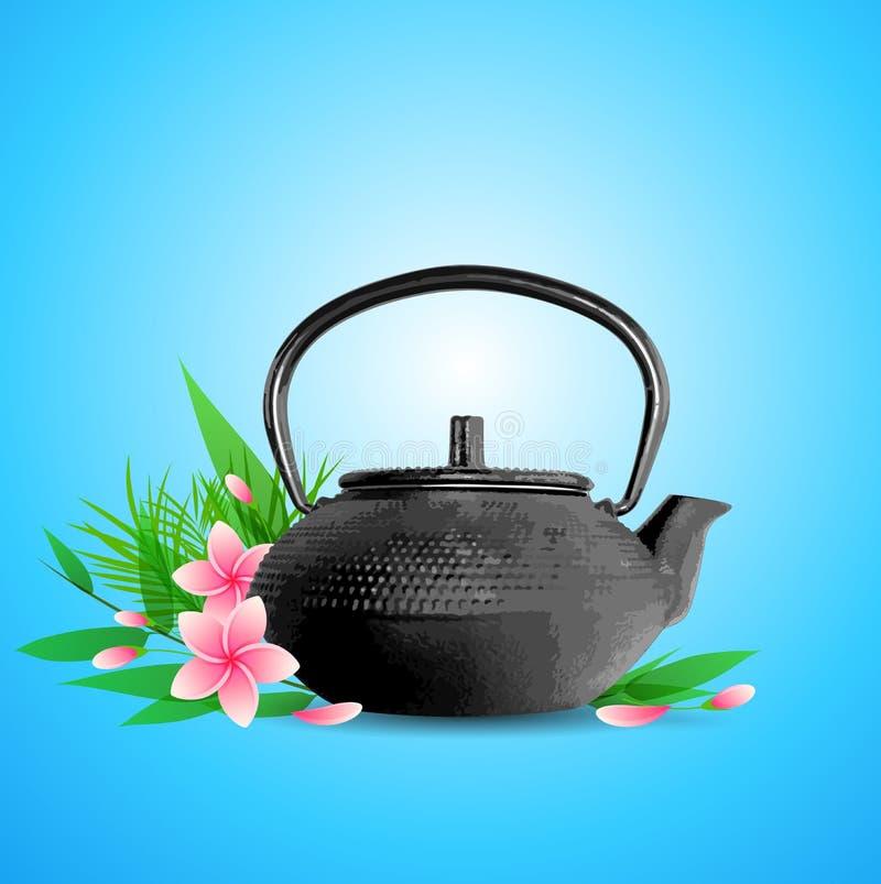 Ρόδινα λουλούδια και teapot απεικόνιση αποθεμάτων