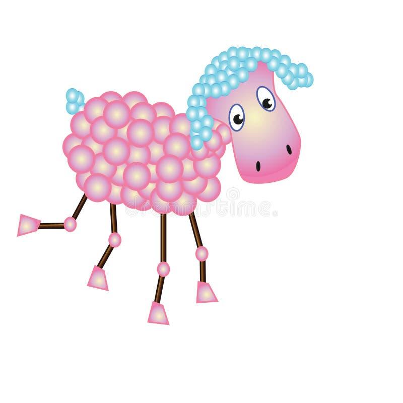 Ρόδινα πρόβατα διασκέδασης με μπλε lugs ελεύθερη απεικόνιση δικαιώματος
