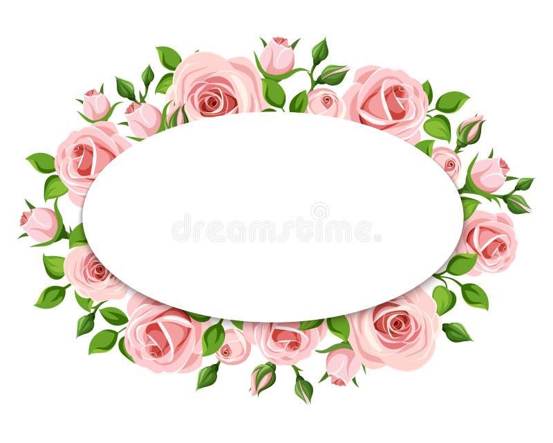 ρόδινα τριαντάφυλλα καρτώ&nu Διάνυσμα eps-10 ελεύθερη απεικόνιση δικαιώματος