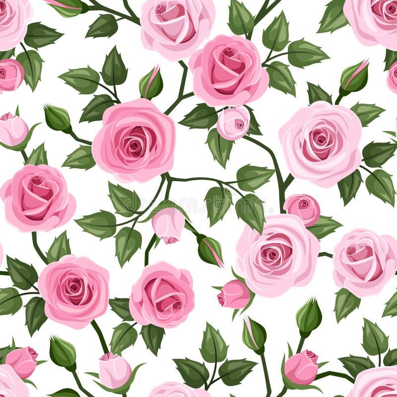 ρόδινα τριαντάφυλλα προτύπ Διάνυσμα illustrat ελεύθερη απεικόνιση δικαιώματος