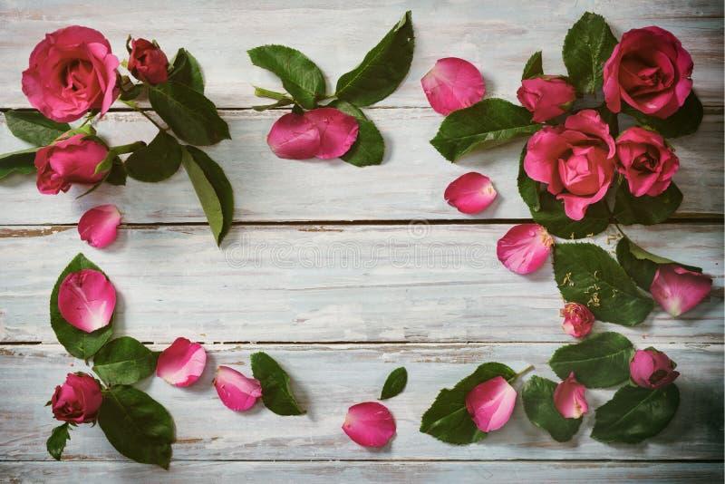 Ρόδινα τριαντάφυλλα στο ξύλο στοκ φωτογραφία