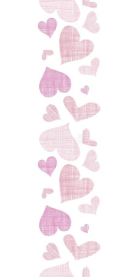 Ρόδινα υφαντικά κάθετα σύνορα καρδιών άνευ ραφής απεικόνιση αποθεμάτων