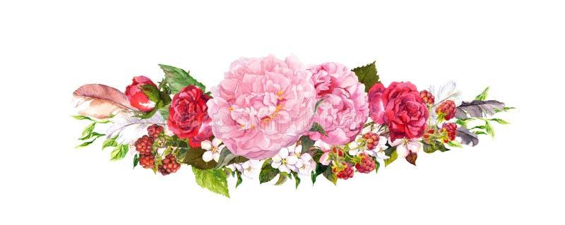 Ρόδινα peony λουλούδια, τριαντάφυλλα και φτερά Watercolor στο εκλεκτής ποιότητας ύφος διανυσματική απεικόνιση